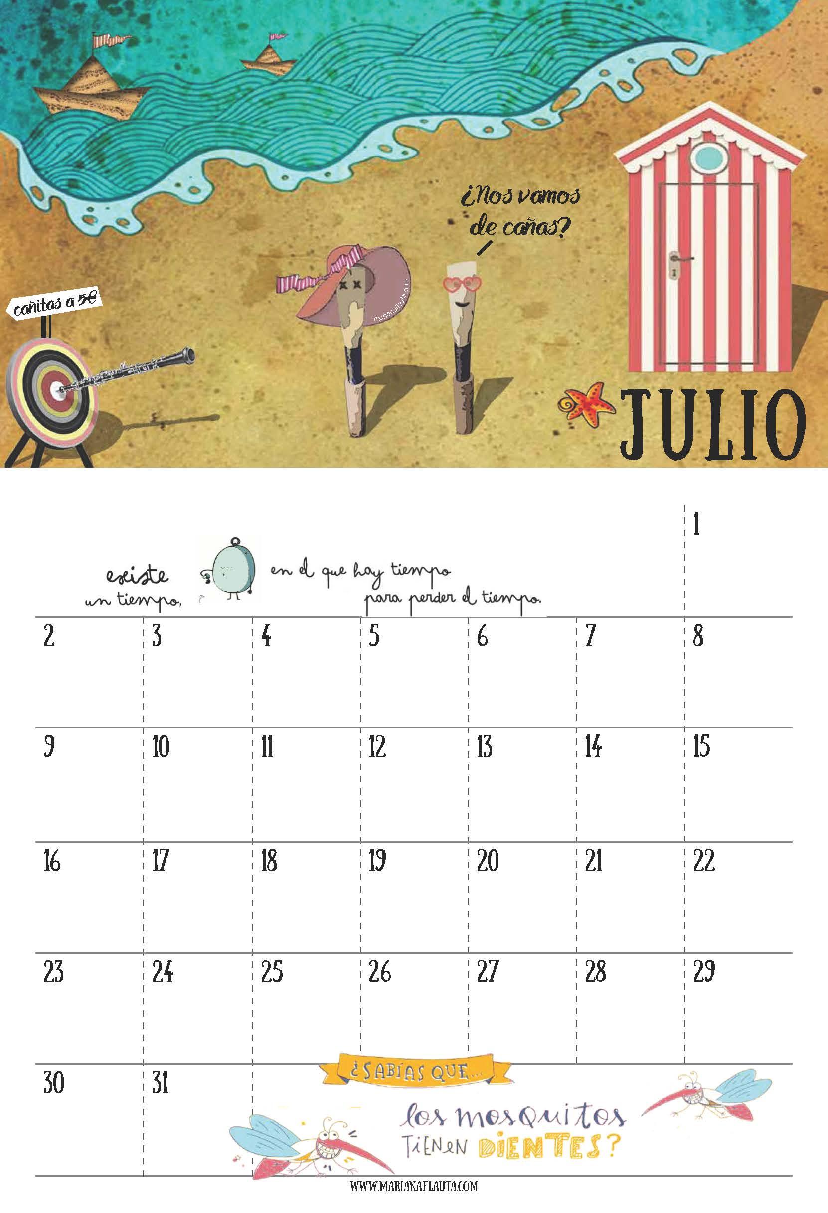 calendario de julio 2018